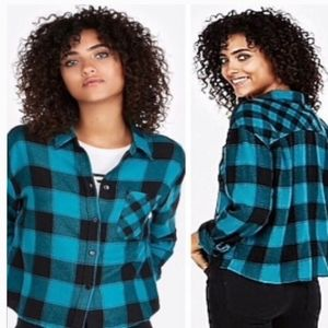 Express plaid cropped flannel button down